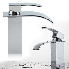 Chrome Square Waterfall Bathroom Sink Counter Taps Basin Mixer Tap