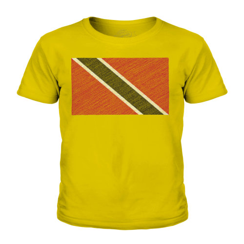 (Gold, 9-10 Years) Candymix - Trinidad And Tobago Scribble Flag - Unisex Kid's T-Shirt