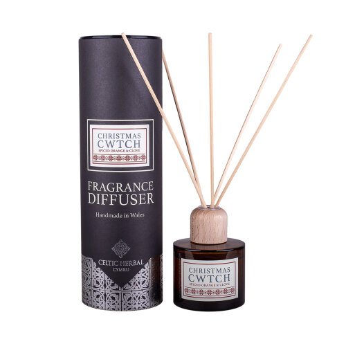 Christmas Cwtch Reed Diffuser with Spiced Orange & Clove 100ml | A Warming Christmas Scent | Handmade in Wales