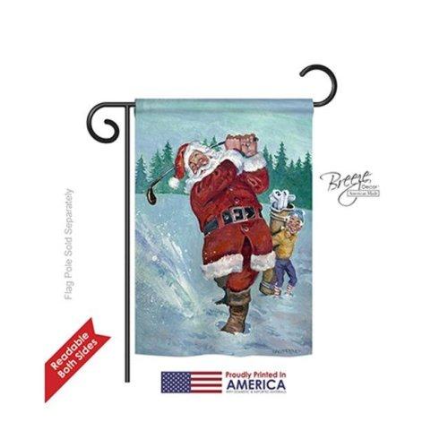 Breeze Decor 64121 Christmas Snow Golfing Santa 2-Sided Impression Garden Flag - 13 x 18.5 in.