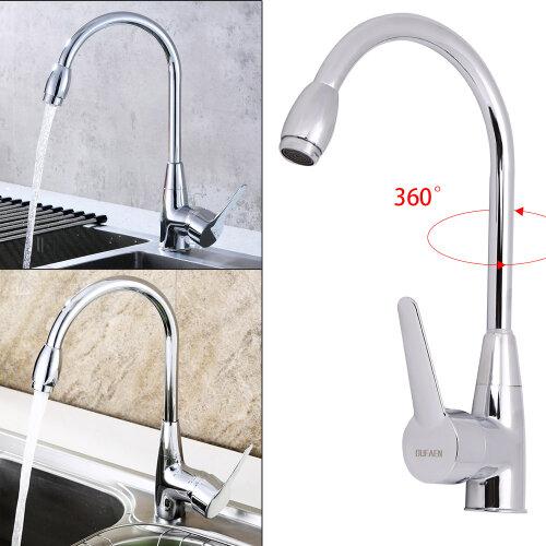 Modern Kitchen Sink Mixer Taps Swivel Spout Dual Lever Tap Mono Chrome