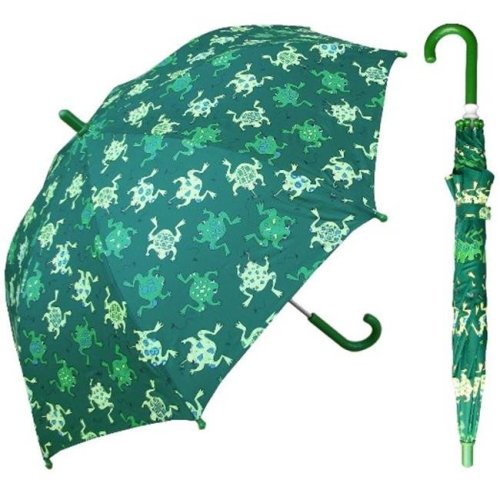 RainStoppers W104CHGFROGS 32 in. Childrens Green Frog Print Umbrella, 3 Piece