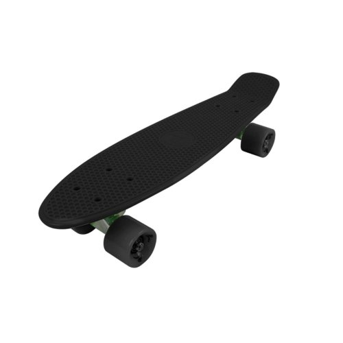 """Vinsani® Retro Cruiser Plastic Fun 22"""" X 6"""" Skateboard Black Deck + Black Solid Wheels & Free Carry Case available in other Colours"""