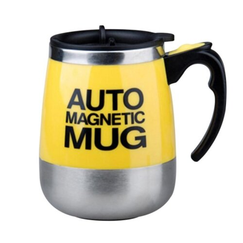 (Yellow) Coffee Cup Automatic Mixing Coffee Mug Cup
