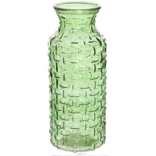 Large Glass Wide Mouth Bottle Flower Vase Woven Style Green/Carafe Jug