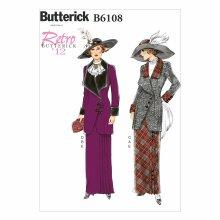 Butterick Patterns 6108 E5 Sizes 14 - 16 - 18 - 20 - 22 Misses Jacket Bib and Skirt