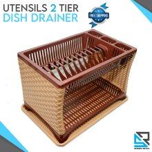 2 Tier Cutlery Bowls Plates Utensils Holder Rack Dish Drainer Rack