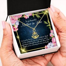 Mother-In-Law Necklace, Anchor Pendant Stainless Steel, Mother-in-Law Birthday Jewelry, Mothers Day Gift, To my Beautiful Mother-in-Law