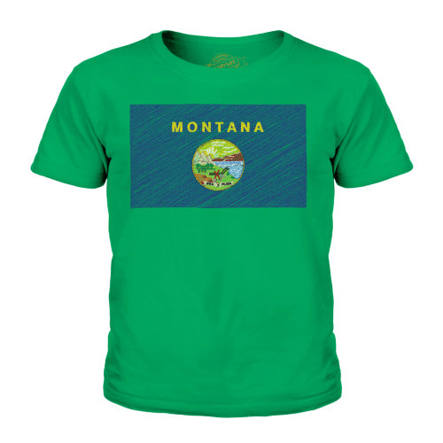 Candymix - Montana State Scribble Flag - Unisex Kid's T-Shirt