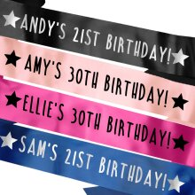 Personalised Name and Age Birthday Sash - Many Colours!