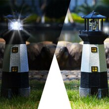 SOLAR POWER LIGHTHOUSE ROTATING LED GARDEN LIGHT HOUSE DECORATION