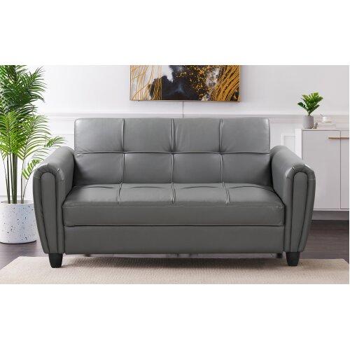 Zinc 2STR PU Leather Sofa Bed with Hidden Storage