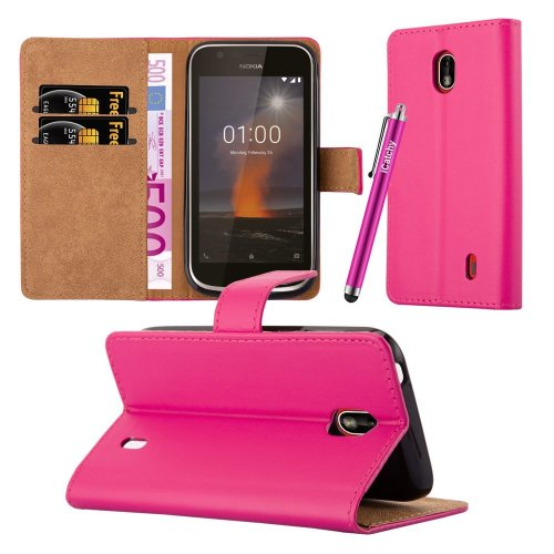 (Pink) For Nokia 1 Premium Leather Wallet Case Cover