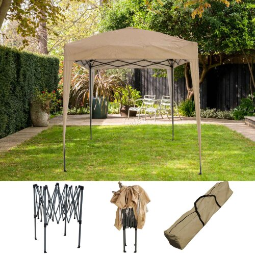 (Beige) BIRCHTREE Gazebo Pop Up Waterproof Marquee Canopy Garden Wedding Party Tent 2x2M