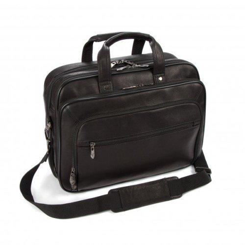 "Falcon Colombian Leather 15"" Laptop Briefcase - FI6703 Black"