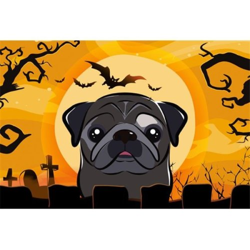 Halloween Black Pug Fabric Placemat