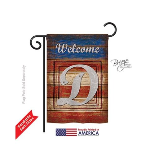 Breeze Decor 80108 Patriotic D Monogram 2-Sided Impression Garden Flag - 13 x 18.5 in.