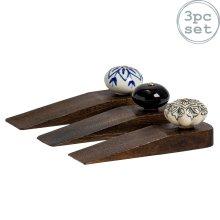 Wooden Door Stop Stops Stopper Wedge Jam Doorstop - 3 Classic Designs - x3