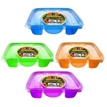 4 Divide Compartment Food Container Plastic Lunch Box Picnic Freezer Microwave