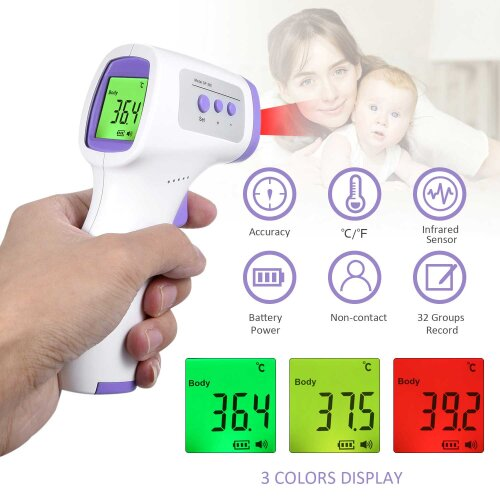 3 Color Backlight Forehead Digital Infrared Thermometer High Precision Fast Non-Contact Thermometer