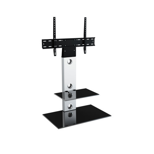 """King Cantilever TV Stand with Brackets, Silver, Rectangle Base, TVs up to 60"""""""