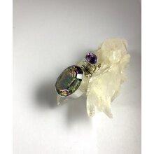 Sterling silver Mystic Quartz and Amethyst pendant