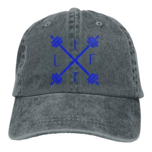 Blue Weight Lifting Motivational Lifter Denim Baseball Caps