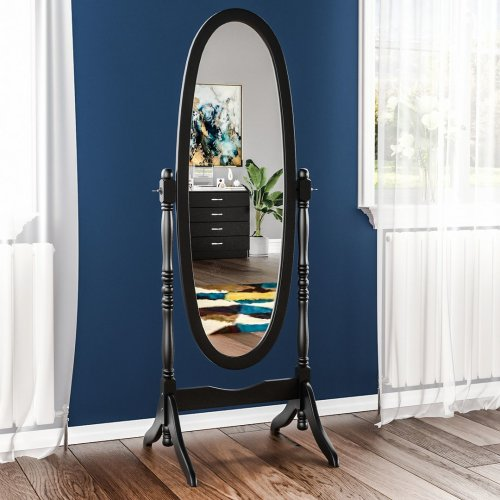 (Black) Nishano Cheval Floor Standing Wooden Oval Mirror