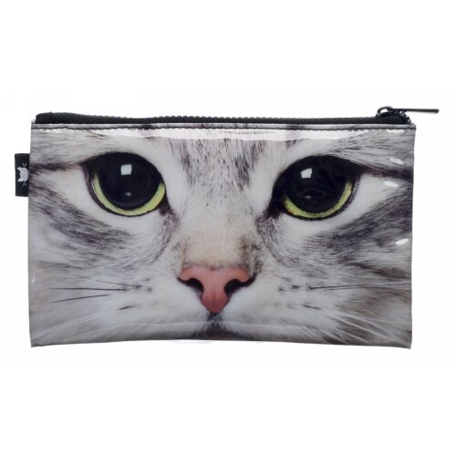 WHSmith Photographic Cat Flat Pencil Case With Chunky Black Zip