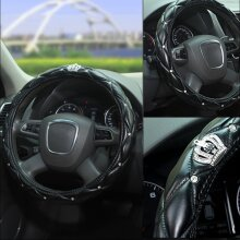 Universal Car Steering Wheel Cover Crystal Diamond Cover PU Leather Skidproof UK
