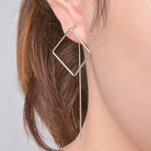FXmimior Fashion Women Earrings Lucky Square Pendant Long Chain Drop Dangle Earrings Jewelry Silver