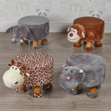 Animal Footstools   Wooden Soft Pouffe Footrests