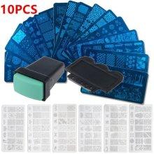10 Nail Art Stamper Stamping Plates Manicures Scraper Plates Design Accessories