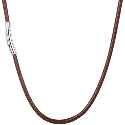 (Brown, 3mm Wide|61.0 Centimetres) Stainless Steel Clasp Woven Wax Rope Chain Necklace