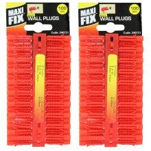 Maxi Fix 200 X 6 mm Red Plastic Wall Plugs Rawl Raw Plug