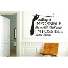 Audrey Hepburn Nothing Is Impossible The Word Itself Says Im Possible Wall Stickers Art Decals - Medium (Height 41cm x Width 57cm) Black