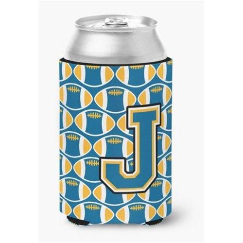Letter J Football Blue & Gold Can or Bottle Hugger, 0.25 x 4 x 5.5 in.