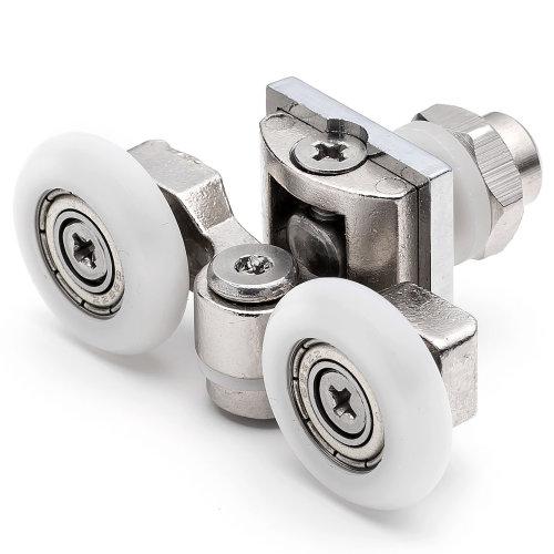 2 x Twin Top Zinc Alloy Shower Door Rollers/Runners/Wheels 20mm, 23mm or 25mm Wheel Diameter L057