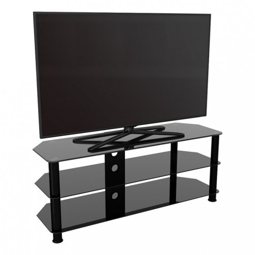 King Glass TV Stand 125cm, Black Legs, Black Glass, Cable Management, for TVs up to 60""
