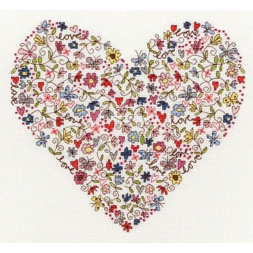 Bothy Threads Cross Stitch Kit - Love Heart by Kim Anderson XKA1