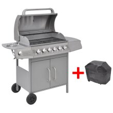 vidaXL Gas Barbecue Grill 6+1 Burners Silver