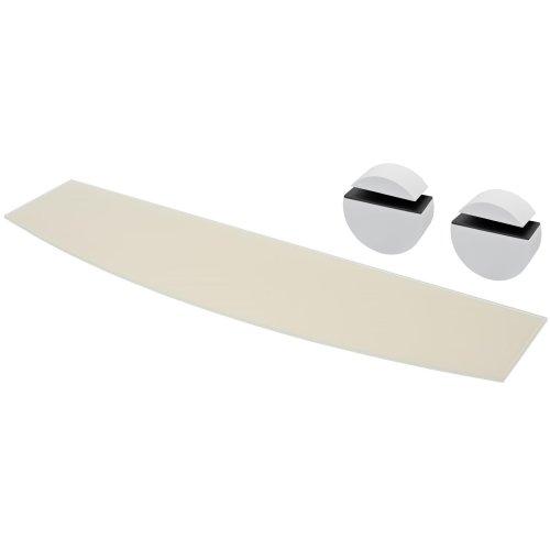 (White, 800x200x6mm Bow front) Floating Glass Shelves With Wall Brackets Shelf Bathroom Black White 40 60 80 cm