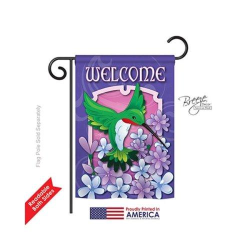 Breeze Decor 55033 Birds Welcome Hummingbird 2-Sided Impression Garden Flag - 13 x 18.5 in.