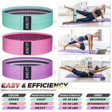 Fabric Resistance Bands Set 3 Heavy Duty Booty Glute Hip Circle Butt Non Slip