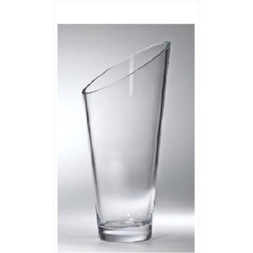 Majestic Gifts T-730-9 Classic clear 10 in. High Quality Glass Slanted Vase