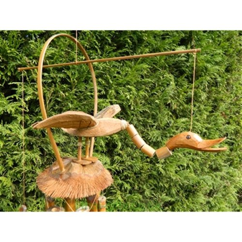Bamboo Windchime - Hand-Carved Duck Design