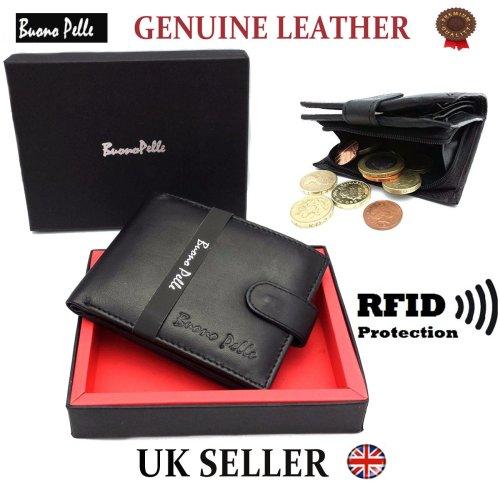 Designer Mens Leather Wallet RFID SAFE Card Blocking ID Protection