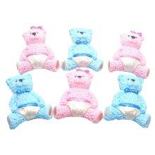 6 Baby Teddies Boy-Girls Edible Baby Shower Birthday Cake Toppers