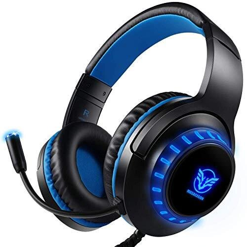 Pro Stereo Gaming Headset for PS4 PC Xbox One S X Nintendo Switch Controller & PC Laptop Mac, Noise Cancelling Over Ear Headphones with Mic, LED Lig