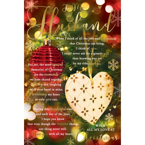 For My  Husband Heart Bauble & Words Design Christmas Card Lovely Verse